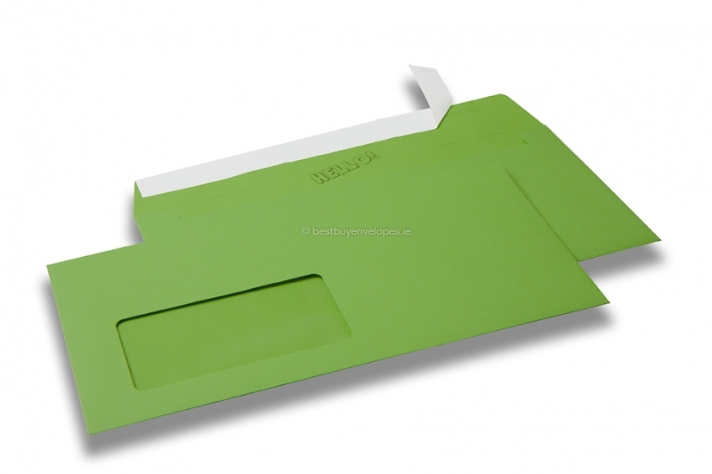 Apple green, coloured window envelopes Hello, 110 x 220 mm (DL), window on the left, windowsize 45 x 90 mm, windowposition 20 mm from the left / 15 mm from the bottom, peal and seal closure, 120 gram coloured paper