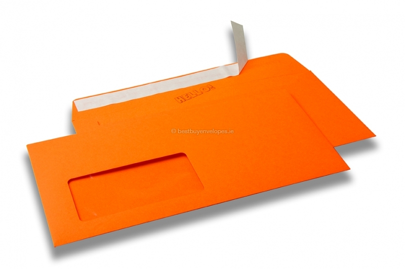 Orange, coloured window envelopes Hello, 110 x 220 mm (DL), window on the left, windowsize 45 x 90 mm, windowposition 20 mm from the left / 15 mm from the bottom, peal and seal closure, 120 gram coloured paper