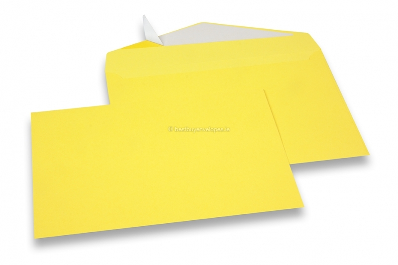 Yellow coloured greeting card envelopes with seal strip