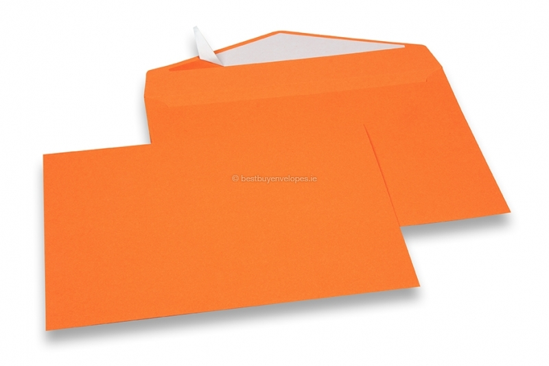 Orange coloured greeting card envelopes with seal strip
