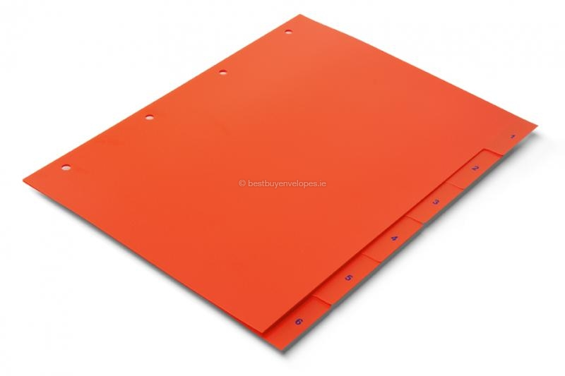 Orange-red dividers, numbered 1-6