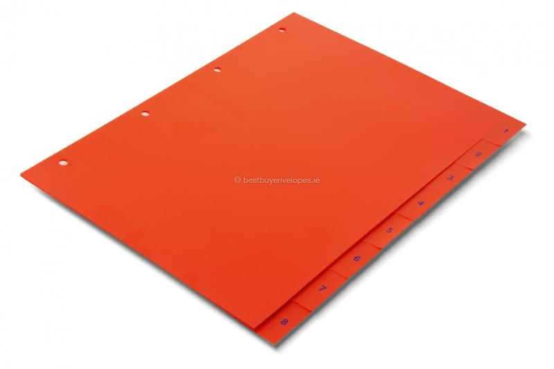 Orange-red dividers, numbered 1-8