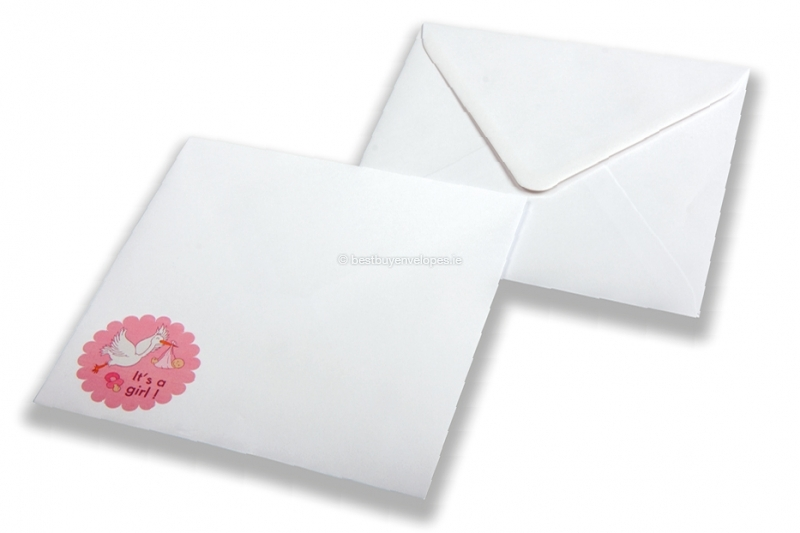 Birth announcement envelopes - White + It's a girl