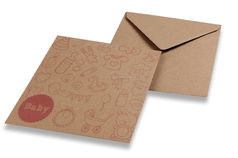 Birth announcement envelopes - Brown + baby pink