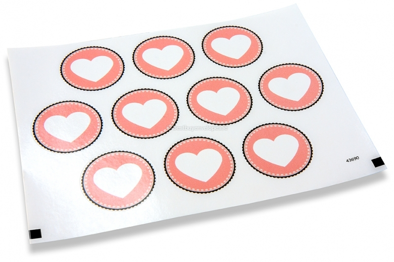 Love envelope seals - pink with white heart
