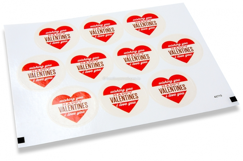 Love envelope seals - wishing you happy valentines red heart