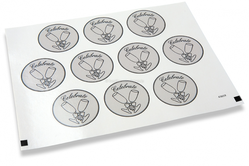 Party envelope seals - celebrate glass
