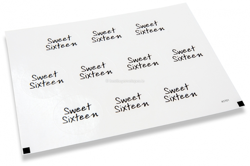 Party envelope seals - sweet sixteen